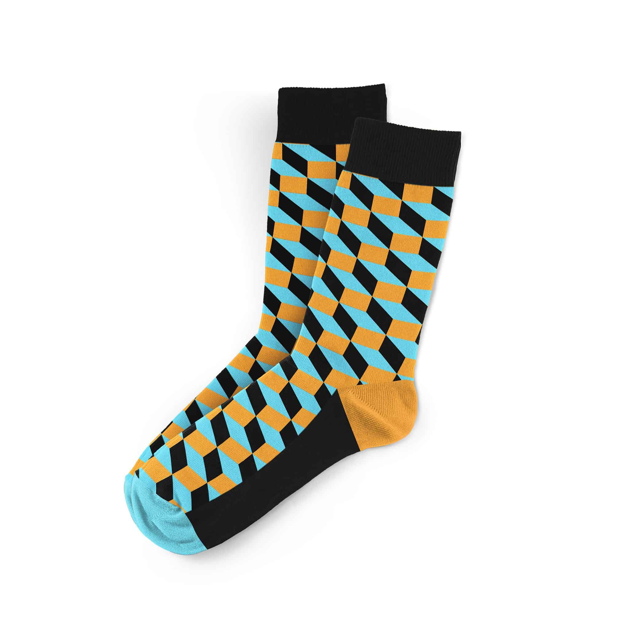 Kezdőlap   Zoknik   Geometrikus mintájú zoknik   Kék-narancs Vasarely  mintás férfi zokni 476a5d61eb